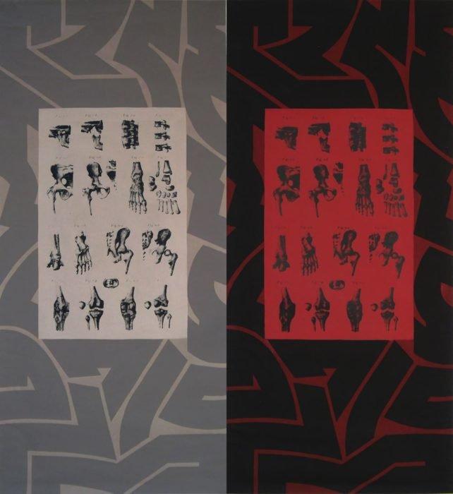MECANICA ORGANICA 2017 acrilico y serigrafia, lienzo 124 X 133